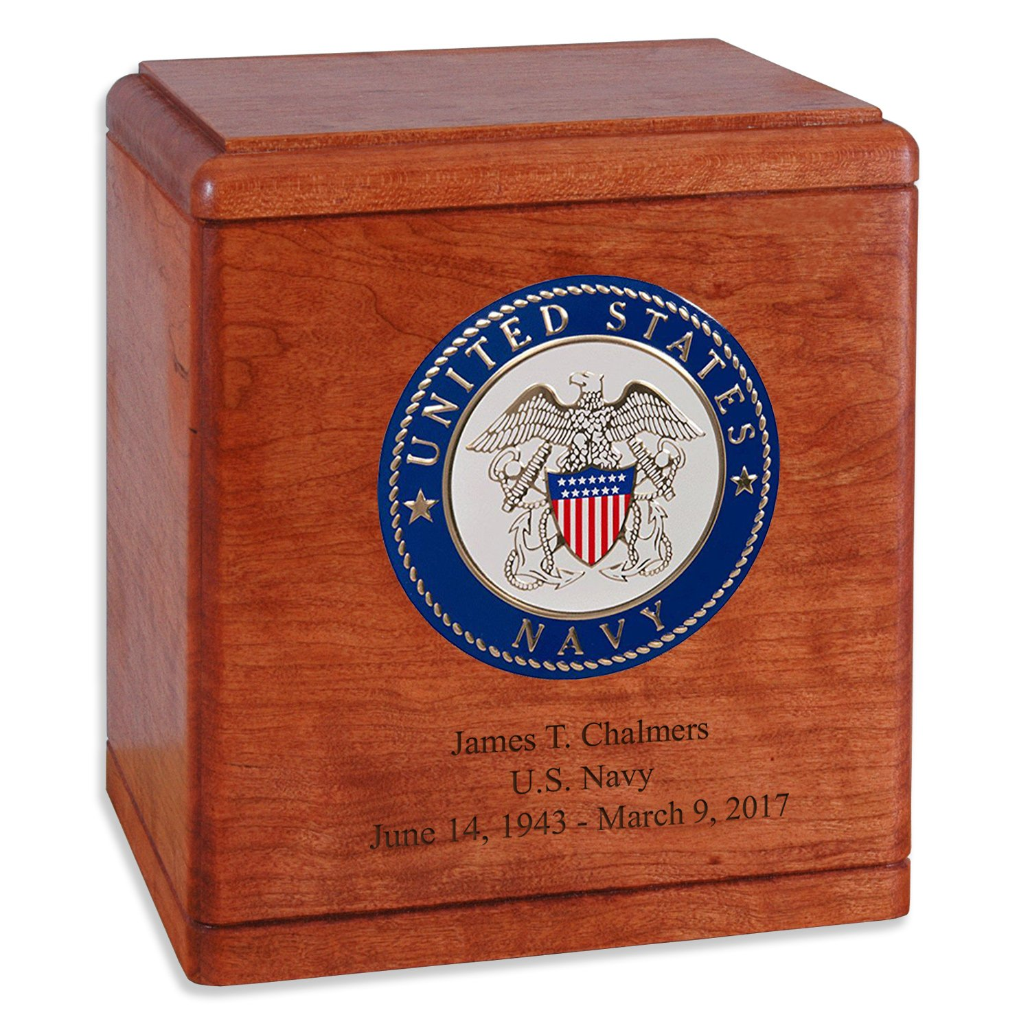 Cherry Wood Military Cremation Urn for the Navy Veteran with Custom Inscription - Personalized Wooden Funeral Urns Made in the USA (more options available)