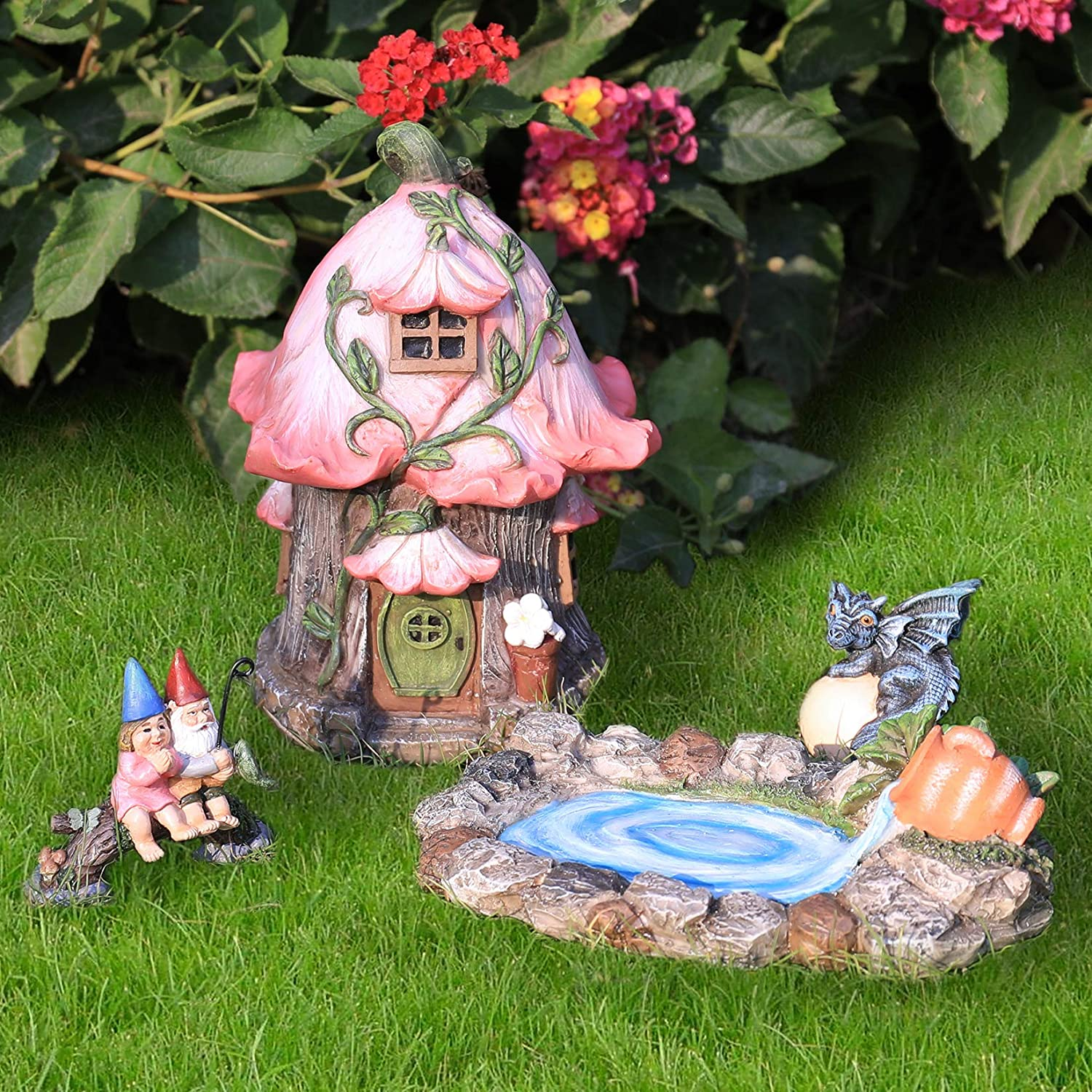 LA JOLIE MUSE Fairy Garden Gnome Accessories Kit - Hand Painted Miniature Fairy House Dragon Figurine Set of 4 pcs, Indoor & Outdoor Christmas Ornaments Gifts for Girls Boys Adults