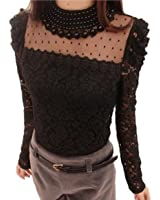 Pomo-Z Women's Long Sleeve Embroidery Pearl Sheer Lace Crochet Blouse Shirt Top