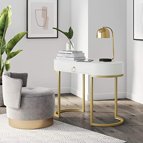 Amazon Com Nathan James Leighton Small Oval Glam Brass Accents Vanity Or Writing Desk For Home Or Office White Gold Furniture Decor
