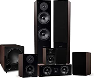 Fluance Elite High Definition Surround Sound Home Theater 7.1 Speaker System Including Floorstanding Towers, Center Channel, Surround, Rear Surround Speakers, and DB10 Subwoofer - Walnut (SX71WR)
