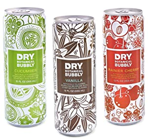DRY Non-Alcoholic Botanical Bubbly I 4 Clean Ingredients I Delicious Way to Be Sober & Social I Zero Proof Mocktail Mixer I Craft Non-Alcoholic Multi-Use Beverage, Pack of 12 (Variety Pack)