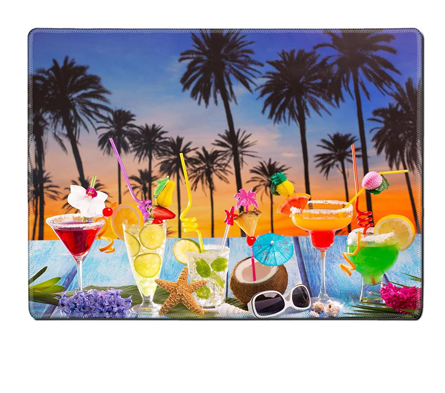 Luxlady天然ゴムプレースマットイメージID : 19616248 Colorful Many Tropical Cocktails in tropical blue wood Palm Tree Sunset With Coconut Mojito Pepermint Margarita UEAEAEaBwA_COLORFUL MANY TROPIC_855  978 B06VT3N31R