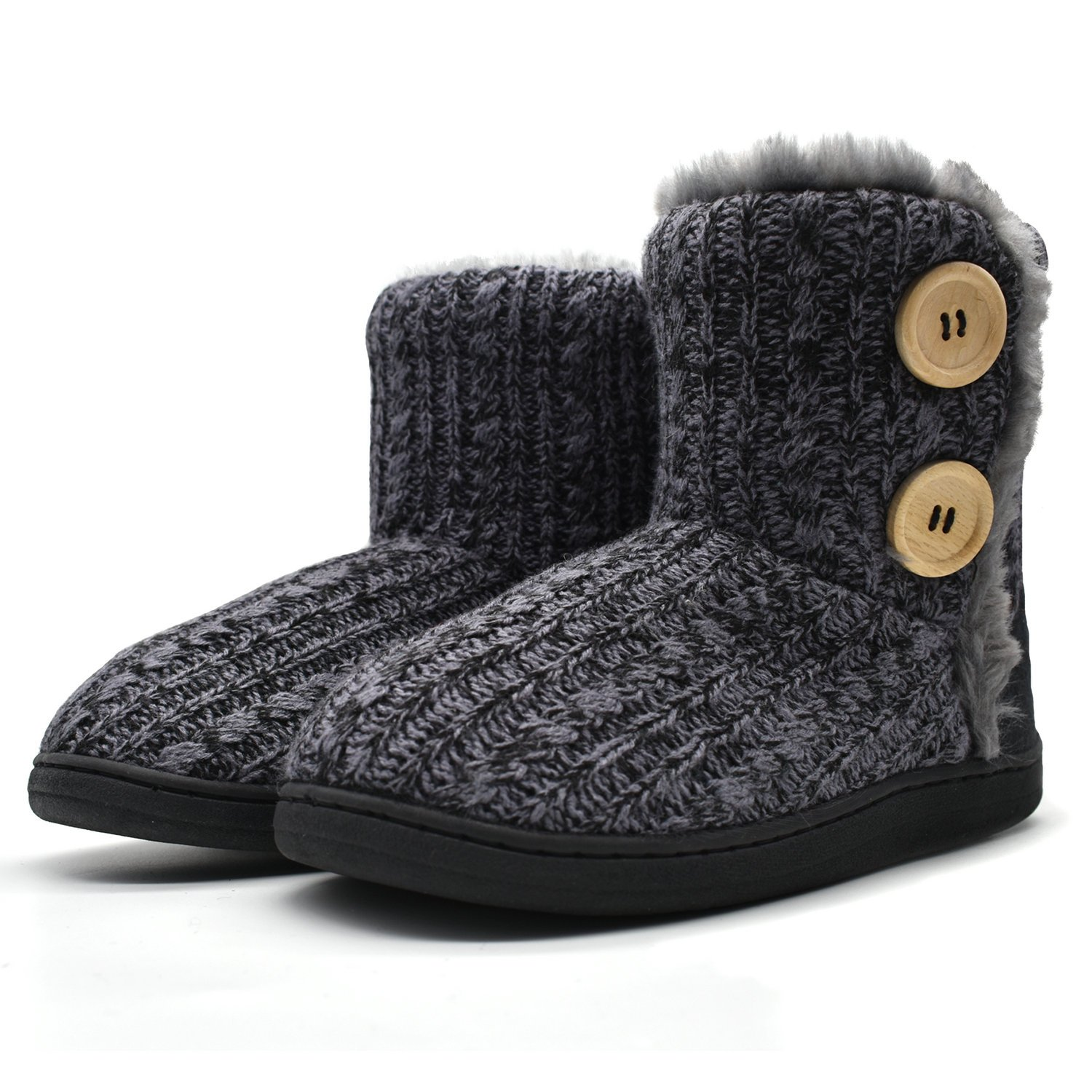 ONCAI Fluffy Faux Fur Slipper Boots for Women Soft Cozy Memory Foam Midcalf Booties Indoor House Pull on Shoes