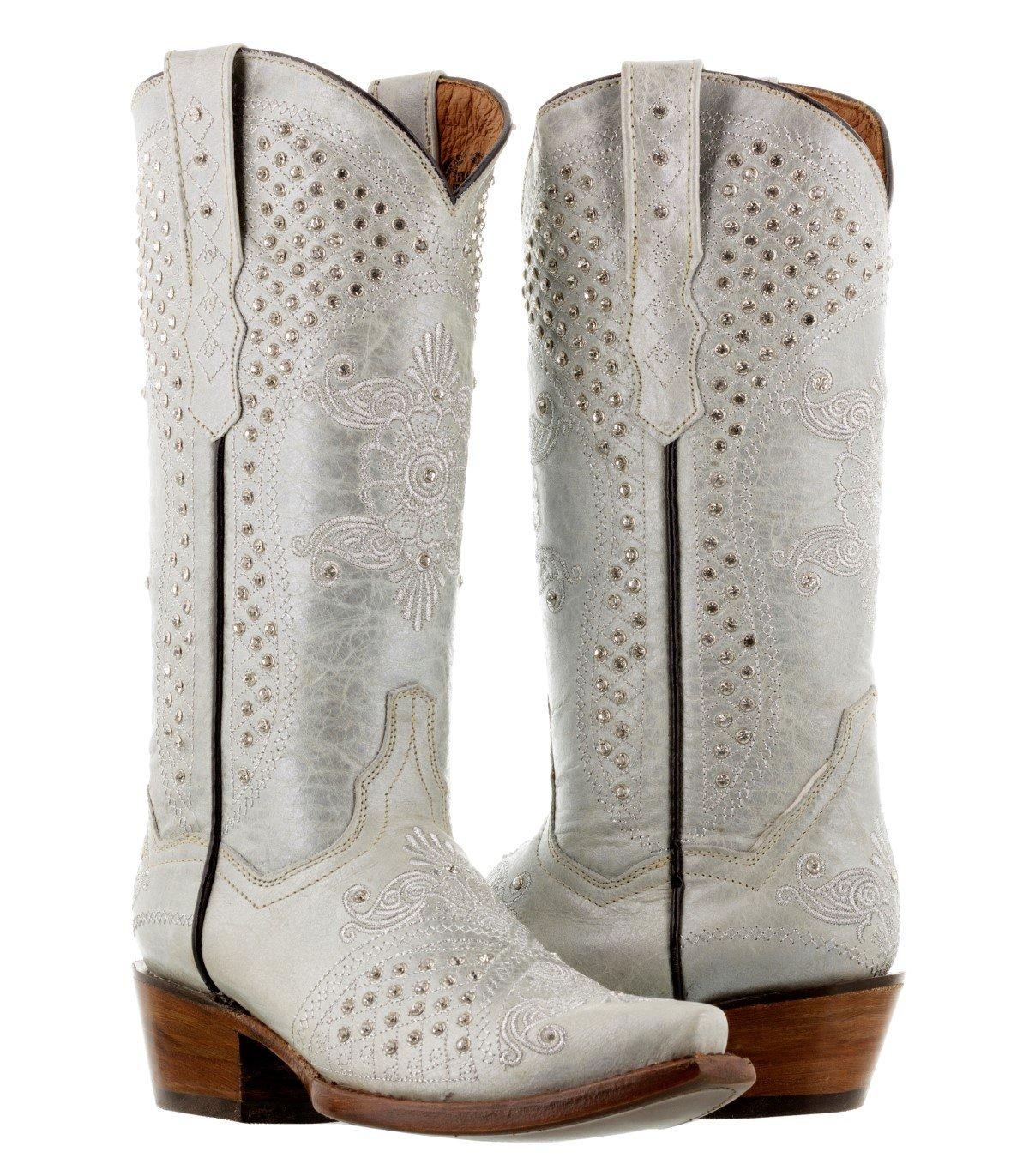 Cowboy Professional Women's Pearl White Marfil Rhinestones Wedding Cowboy Boots Snip 11 BM