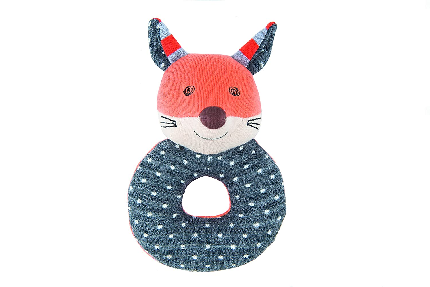 Apple Park Organic Farm Buddies - Frenchy Fox Teething Rattle, Baby Toy for Infants - Hypoallergenic, 100% Organic Cotton