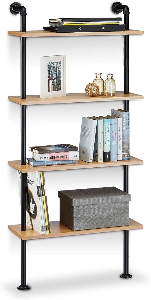 Regal Bücherregal Hängeregal Wandregal Industrial Metall//Holz Ablage Wandregal
