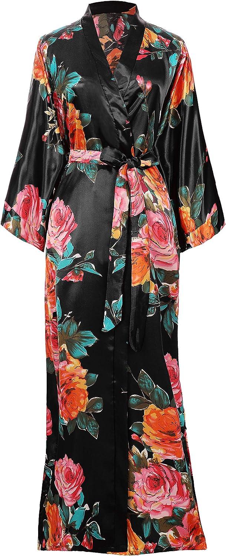 Coucoland Silk Satin Kimono Robe Dressing Gown Peony Floral Kimono Cardigan for Women Silk Wedding Girls Bonding Party Pyjamas Long