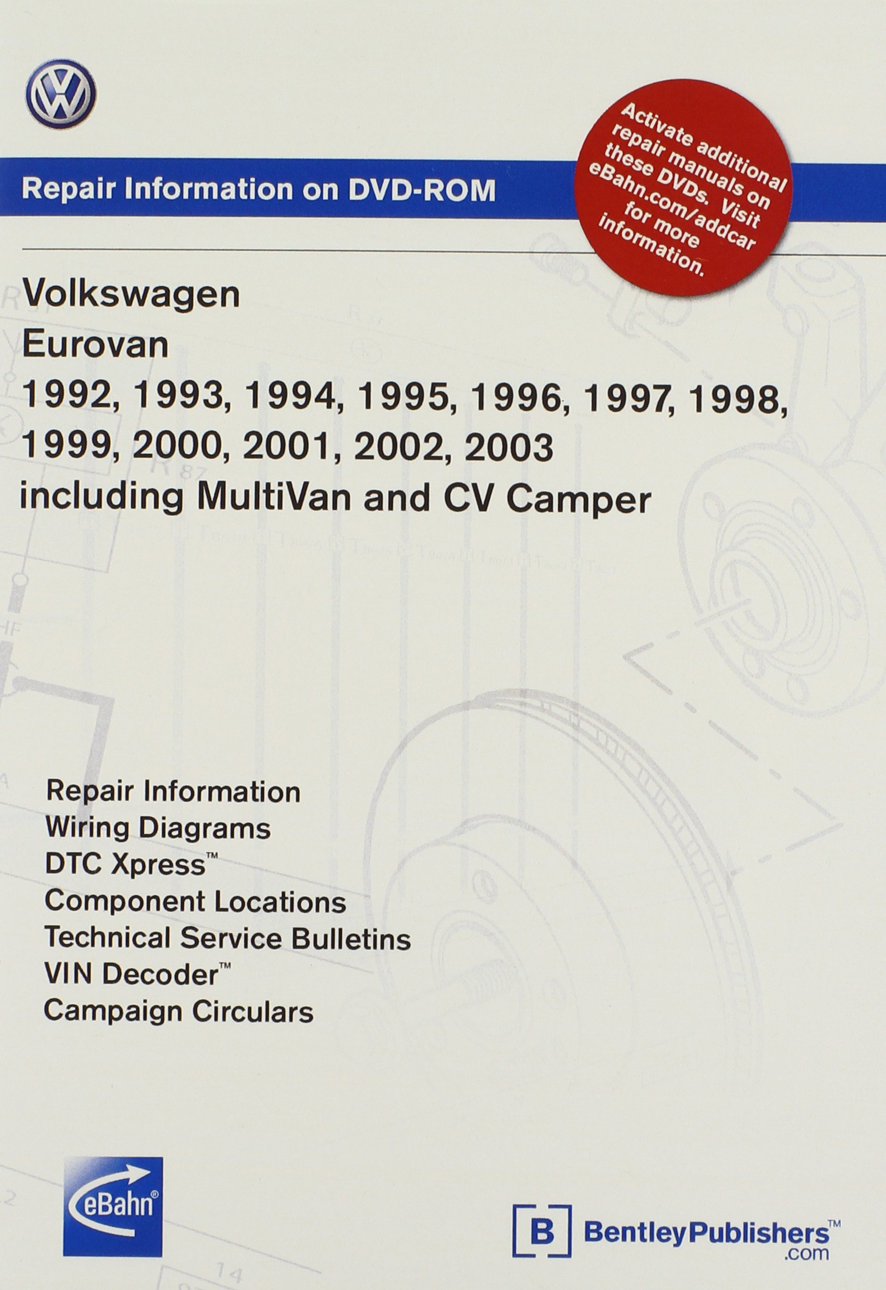 Volkswagen Eurovan 1992, 1993, 1994, 1995 1996, 1997, 1998, 1999 2000,  2001, 2002, 2003: Repair Manual on DVD-ROM: Including Multivan and CV  Camper: ...