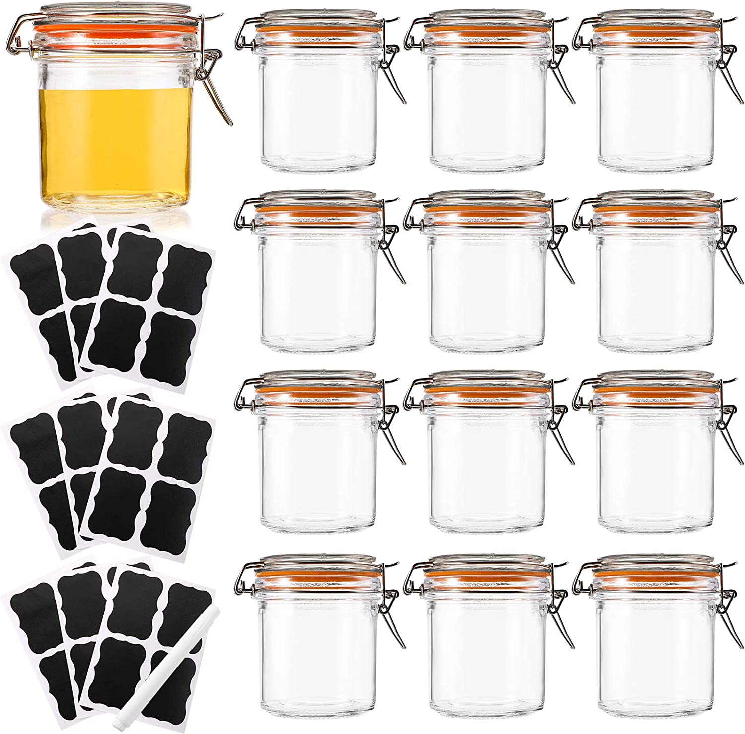 Kingrol 12 Pack 8 Ounces Glass Jars with Airtight Lid, Wide Mouth Storage Canister Jars for Canning, Preserving, Jam, Honey, Baby Food Storage