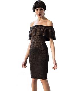 eec3655bd608 CY Boutique Bodycon Metallic Frill Bardot Bandage Dress off shoulder party  wear