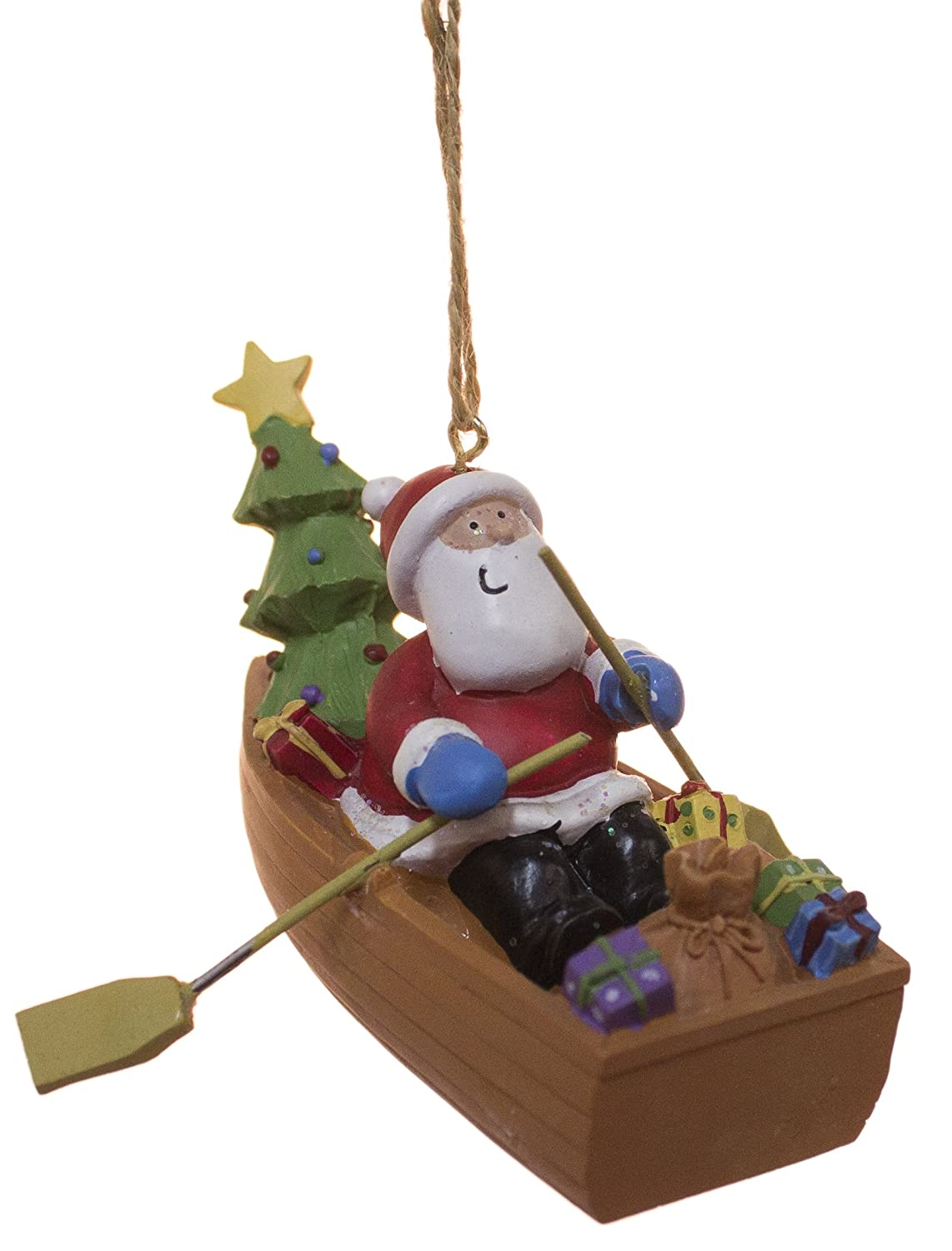 Sailboat Glass Blown Ornament · Santa Delivering Gifts In Dory Boat Holiday  Christmas Ornament