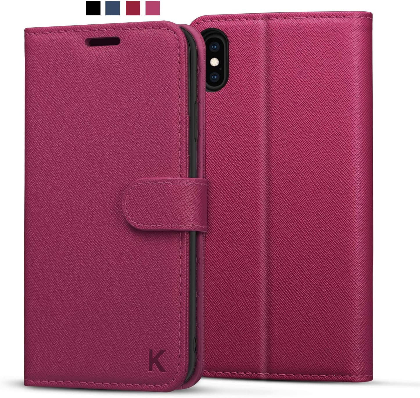 KILINO iPhone Xs Wallet Case, iPhone X Flip Case [Saffiano Leather] [RFID Blocking] [Shock-Absorbent Bumper] [Card Slots] [Folding Stand] Folio Case Compatible with iPhone X - Magenta