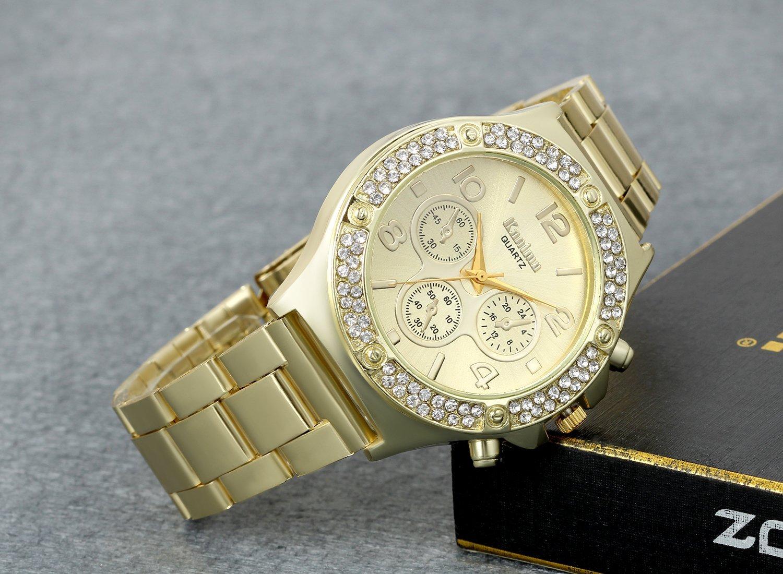 Men's Luxury Bling Double Dual Rhinestone Bezel Japan Quartz 30M Waterproof Gold Tone Bracelet Cuff Bangle Dress Unisex Watch (Gold) by Lancardo (Image #2)