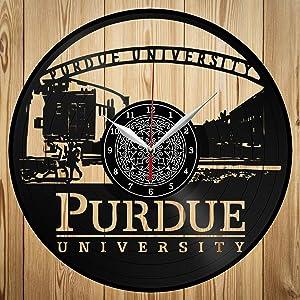 Vinyl Clock - Purdue University - Custom Exclusive Vinyl Record Clock - Сraft Wall Clock - Home Decor - Original Gift Idea - Black Clock 12