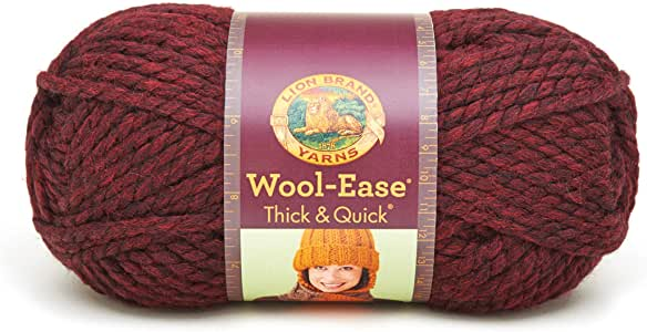 Claret Lion Brand Yarn 640-143 Wool-Ease Thick /& Quick Yarn Pack of 3 skeins