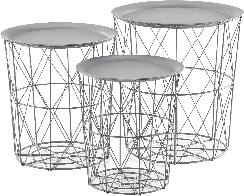 en.casa Set de 3X Cestas de Metal con bandejas extra/íbles Mesa Baja Mesa Auxiliar para Almacenar Mesas de t/é y caf/é Mesas de Centro Blanco