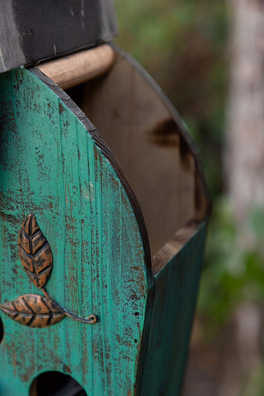 Alpine Corporation YEN134HH-TUR Wooden Birdhouse Outdoor Decor for Garden, Patio, Deck, Porch, 25-Inch Tall, Turquoise 81f8Cux5X5L