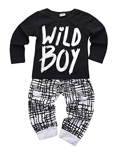 2554a55f Newborn Baby Boys Clothes Wild Boy Letter Print T-Shirt Tops and Pants  Outfits Set Autumn Winter
