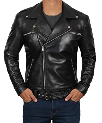 f98edf48a0f0 Motorcycle Leather Jacket Men - Black Real Mens Leather Jackets for Biker