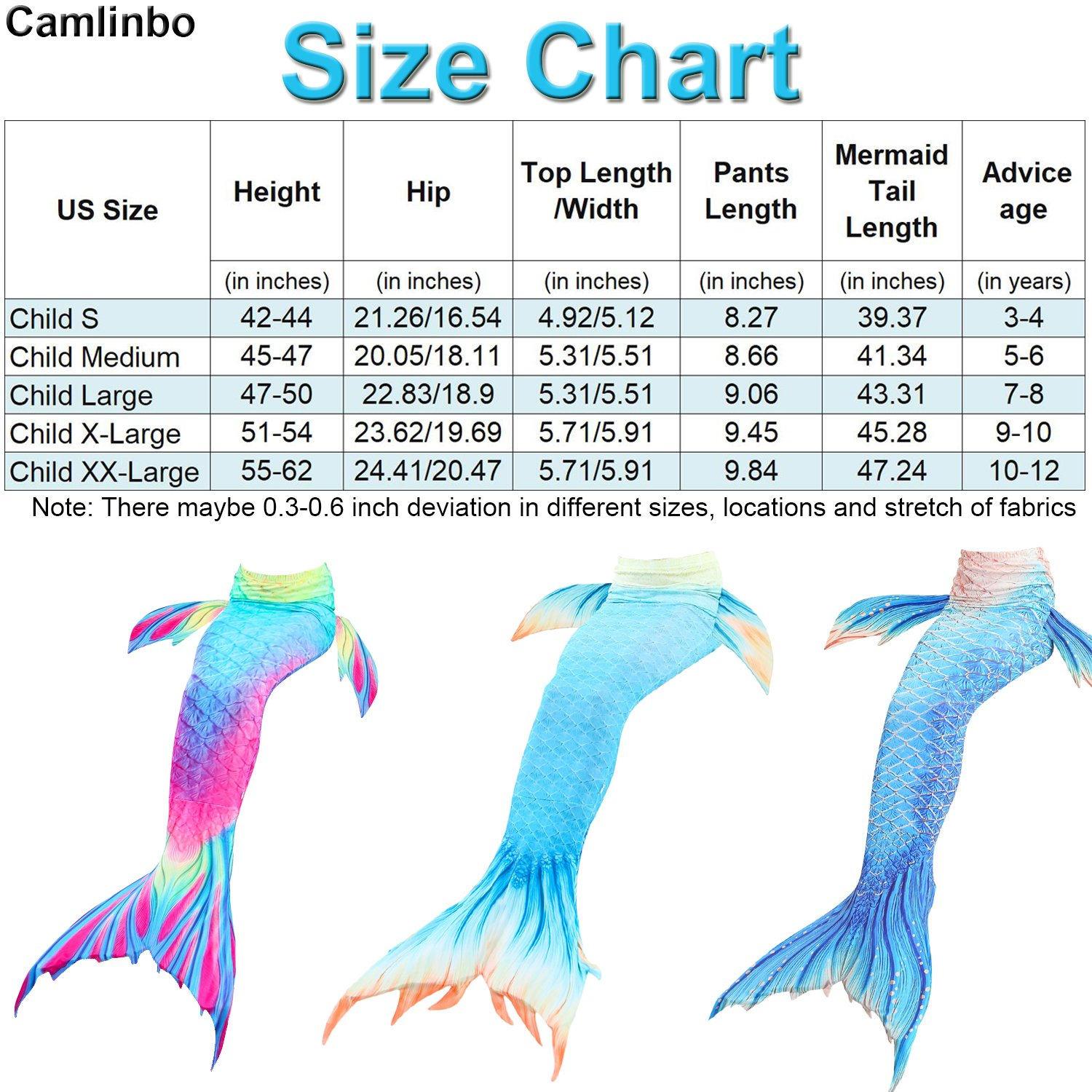 Camlinbo 3PCS Girls' Swimsuit Mermaid Tail for Swimming Tropical Bikini Set Support Monofin by Camlinbo (Image #2)