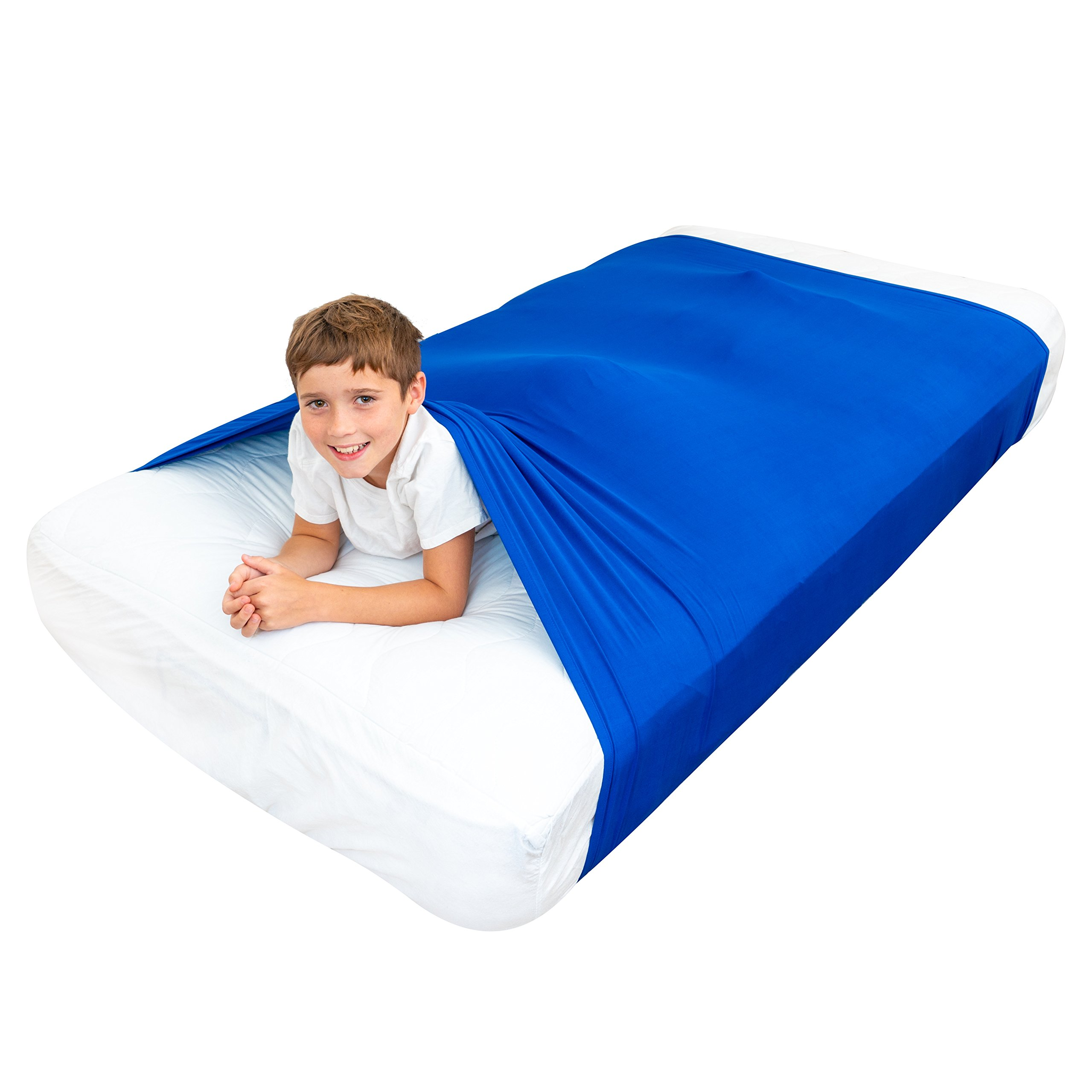 Special Supplies Sensory Bed Sheet for Kids Compression Alternative to Weighted Blankets | Breathable, Stretchy | Cool, Comfortable Sleeping Bedding (Blue, Twin)