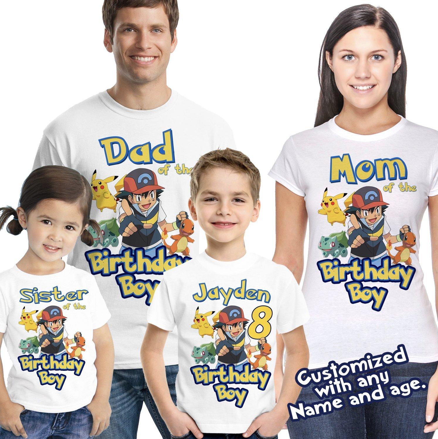 Pokemon Birthday Shirt Add Name & Age Pokemon GO Mystic Custom Birthday Party TShirt