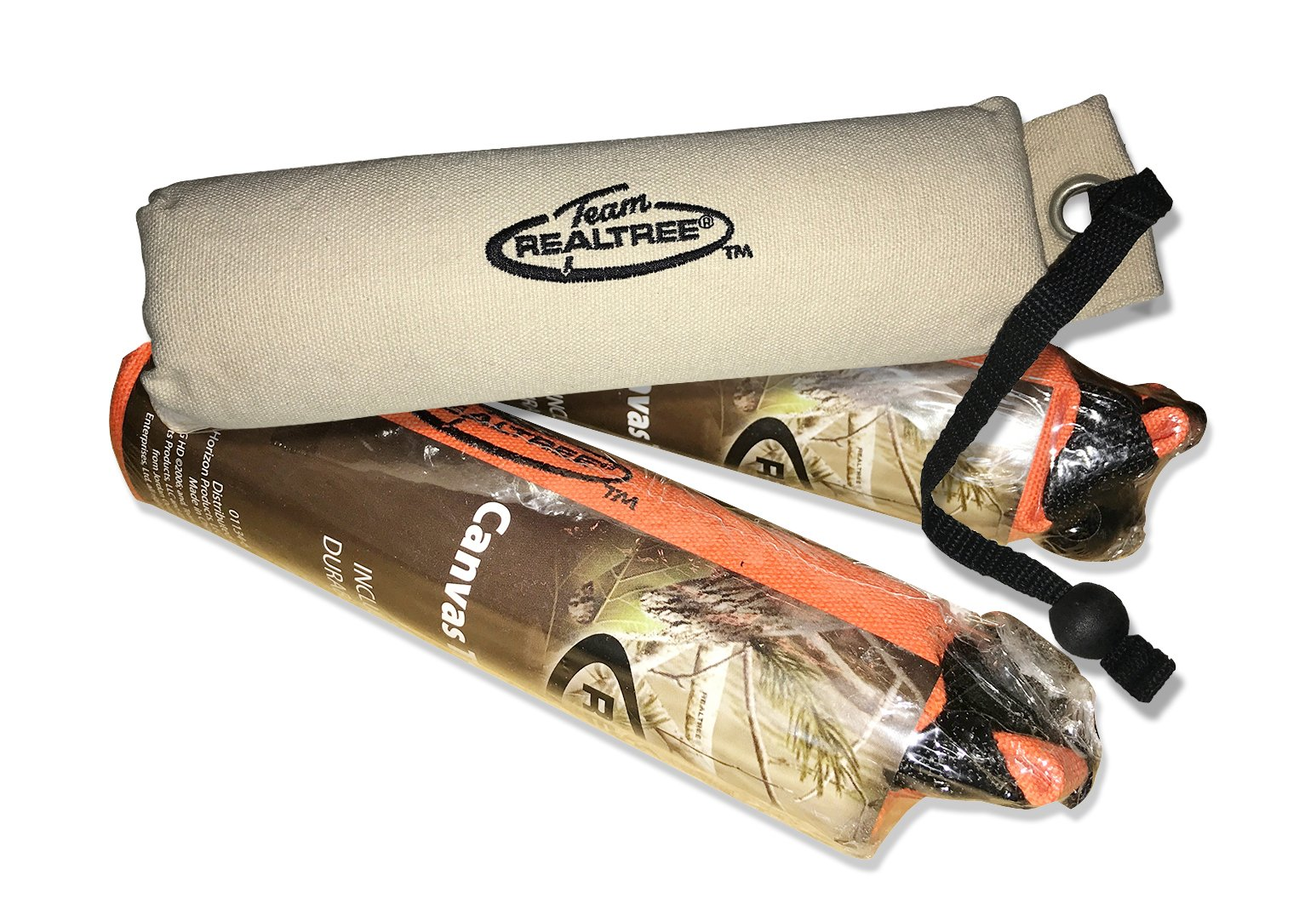 Team REALTREE 3-pack Floatable Canvas Dummy Dog Retriever Training Toys, Small Orange and White