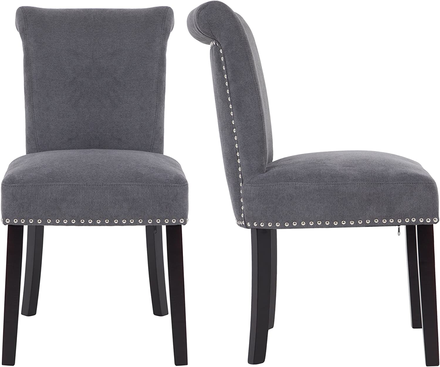 LSSPAID Upholstered Dining Chair with Polished Nailhead Wood Legs in Grey,Set of 2