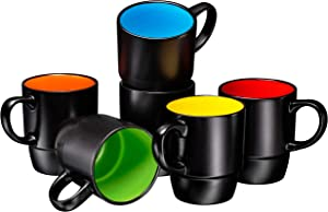 Ceramic Stacking Coffee Mug Tea Cup Dishwasher Safe Set of 6 - Large 18 Ounce, Matte Black