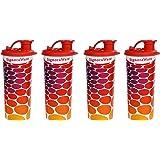 Signoraware Stylish Energy Jumbo Plastic Sipper Set, 500ml, Set of 4, Deep Red