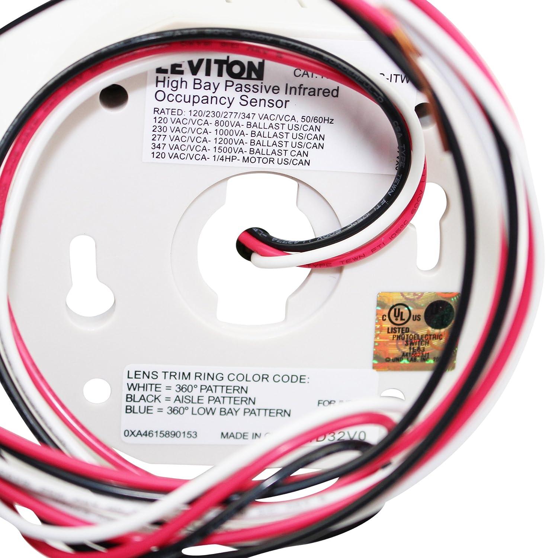 Leviton osfhs-itw Sensor de ocupación pir de montaje en techo Max. 3600 SQ. FT. 120/230/277/347vac - Color blanco: Amazon.es: Bricolaje y herramientas