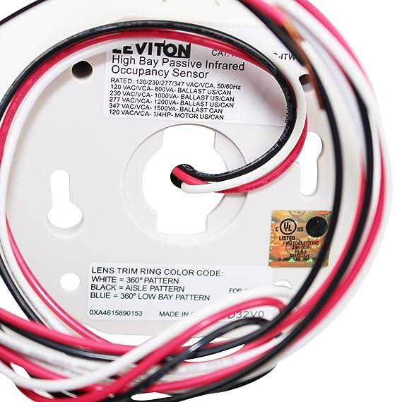 Leviton OSFHS-ITW Occupancy Sensor Ceiling Mount PIR Max. 3600 Sq ...