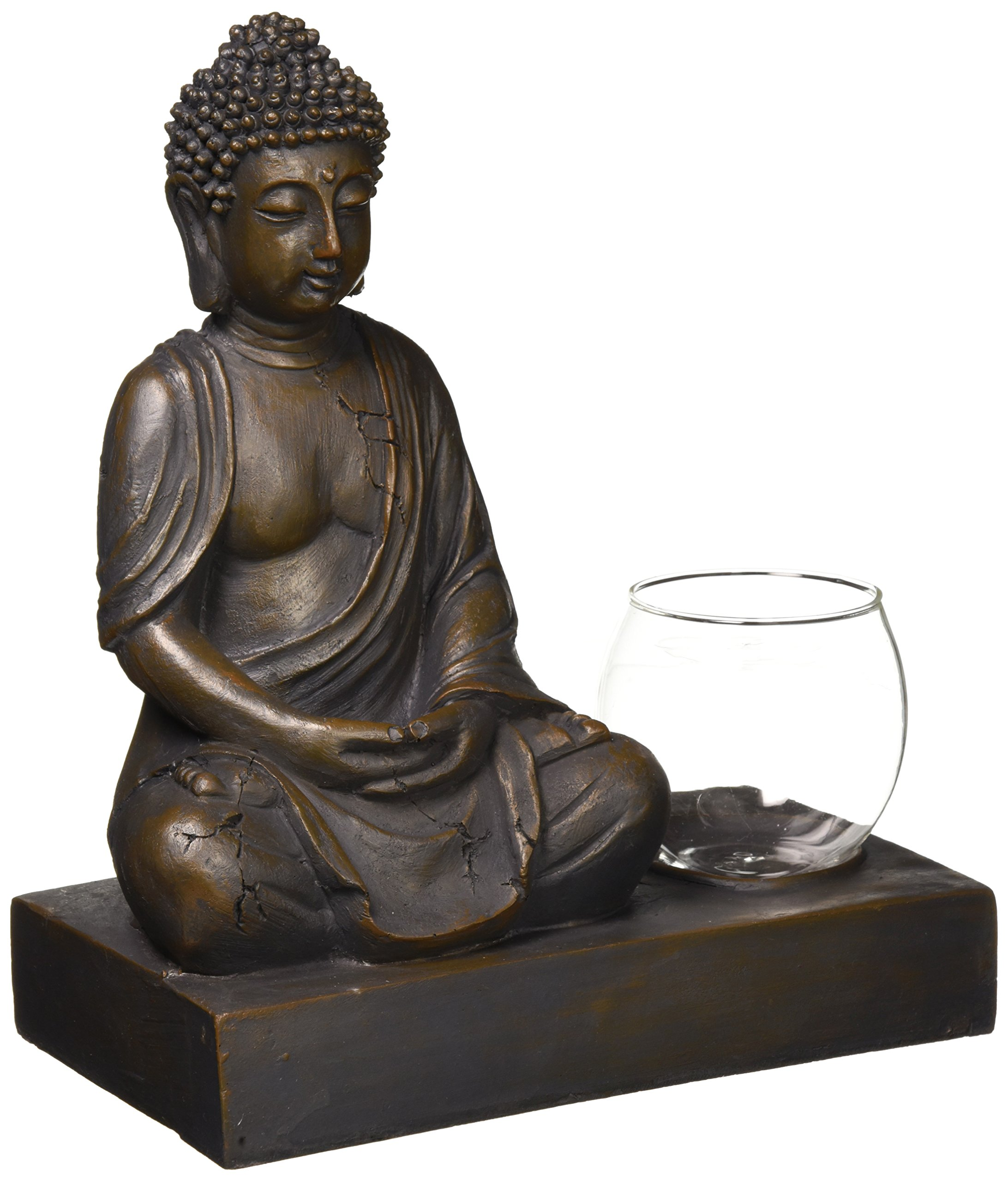 Whole House Worlds The Seated Buddha with Glass Globe Tealight Holder, Glass and Polyresin, 9 7/8 Inches High, (25cm H) From the Serenity Collection, By
