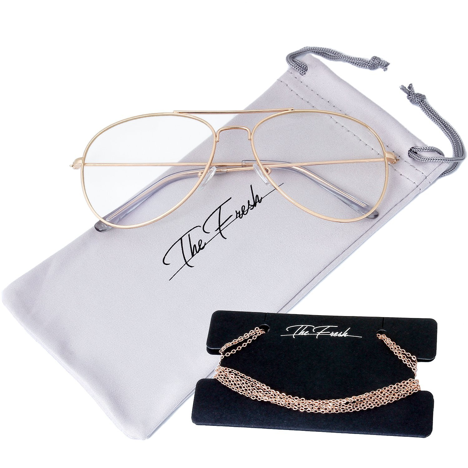 dd54d946b3c67 Amazon.com  The Fresh Classic Large Metal Frame AR Coating Clear Lens  Aviator Sunglasses and Necklace Eyeglass Chain Holder (1-Gold Rose Glod  Chain-1A