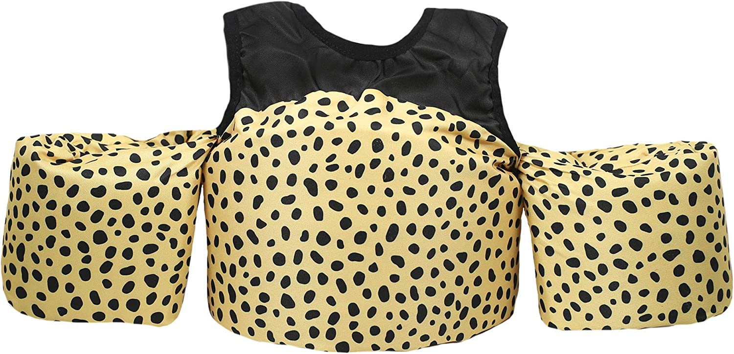 Black Little Fin Swimmer Float Vest for Pool Toddler Swim Vest with Arm Wings Girls Zara Swimmer Tan Kids Life Jacket from 30 to 50lbs Cheetah Print