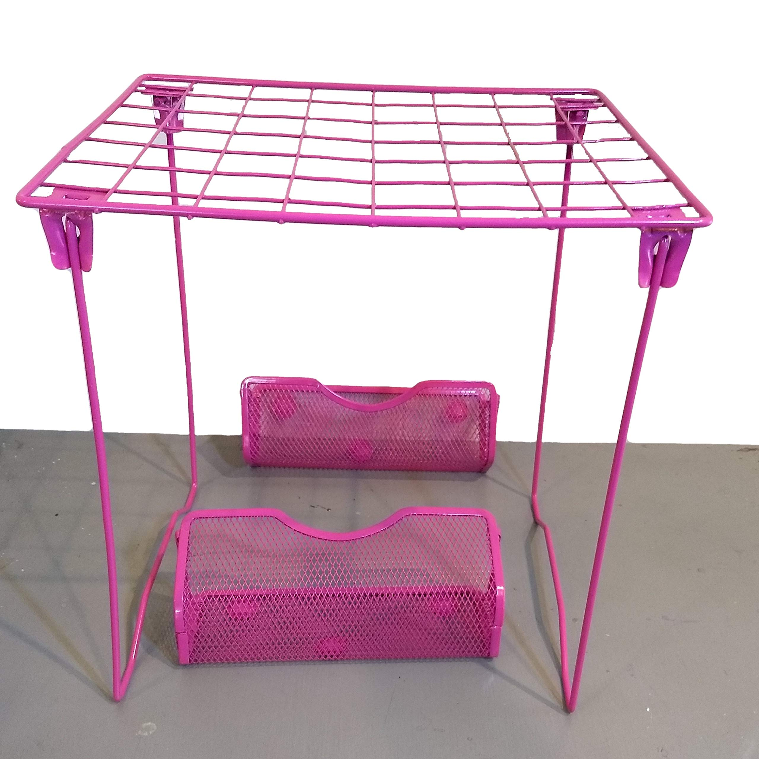 Locker Room Wire Locker Shelf 11.8'' X 10.04'' X 12.4'' and 2 Magnetic Locker Baskets Caddy Pencil Holders with 3 Cute erasers Bundle (Pink) by The Locker Room