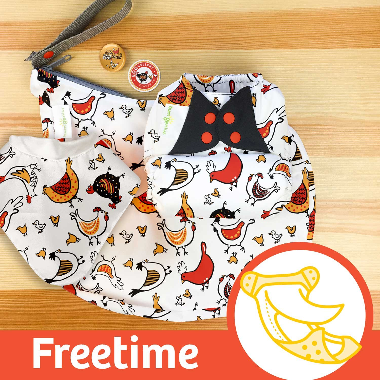 bumGenius Freetime All-in-One One-Size Snap Closure Cloth Diaper (Sweet) Cotton Babies
