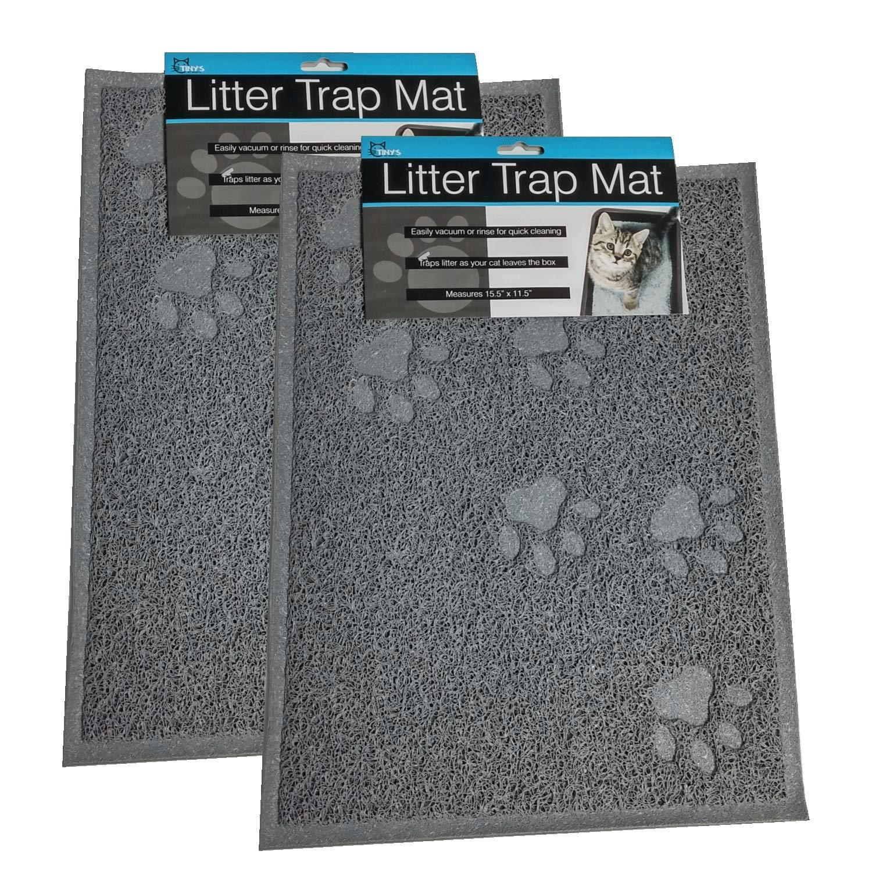 2 Pack Cat Litter Trap Mat Kitty Litter Mat Litter Catcher Size Small Gray Soft Rubberized Material Traps Dirt Litter Waterproof Easy Clean Durable Cats Kittens Reduces Litter Scatter Non Slip Backing