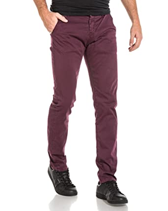 Deeluxe 74 - Pantalon Homme Chino Prune - Couleur  Rouge - Taille  FR 46 68e77f91fbf