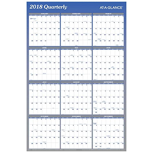 amazoncom at a glance quarterly wall planner january 2018 december 2018 36 x 24 vertical horizontal erasable reversible redblack a123
