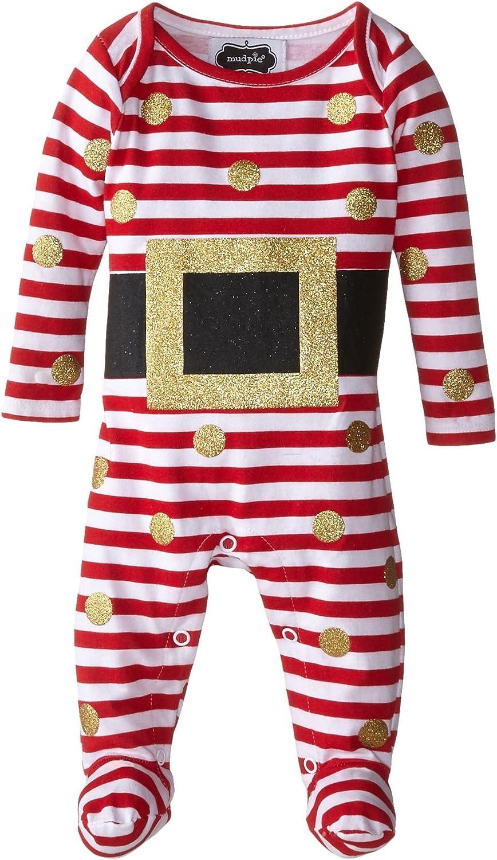 Mud Pie Baby-Girls Newborn Glitter Santa Footed One Piece