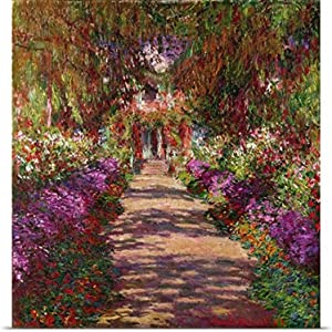 "GREATBIGCANVAS Entitled A Pathway in Monets Garden, Giverny, 1902 Poster Print, 48"" x 48"", Multicolor"