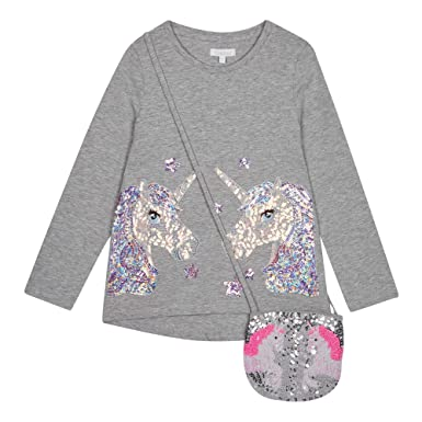 546944c57 bluezoo Kids Girls  Grey Sequinned Unicorn T-Shirt with A Bag ...