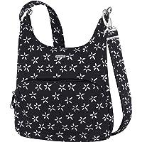 Travelon Anti-Theft Classic Essential Messenger Bag (One Size, B/W SMALL FLOWER PRINT)