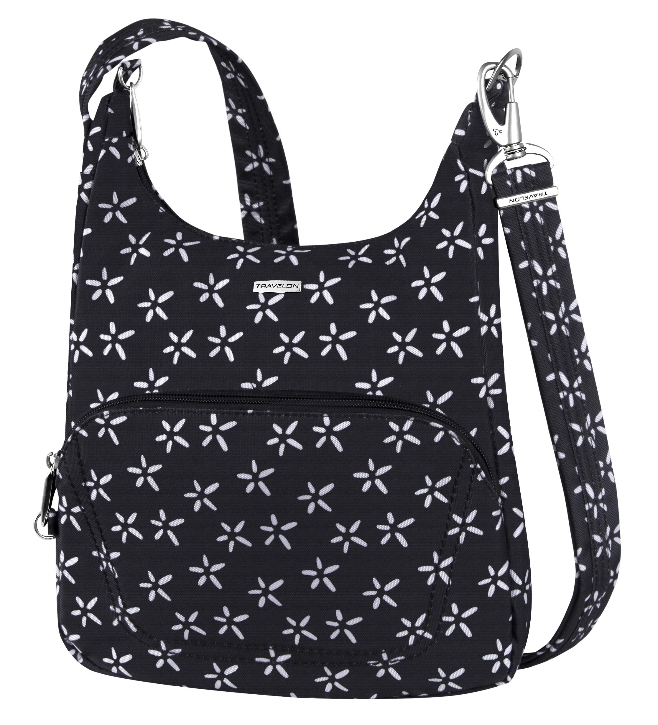 Travelon Anti-Theft Classic Essential Messenger Bag (One Size, A B/W SMALL FLOWER PRINT)