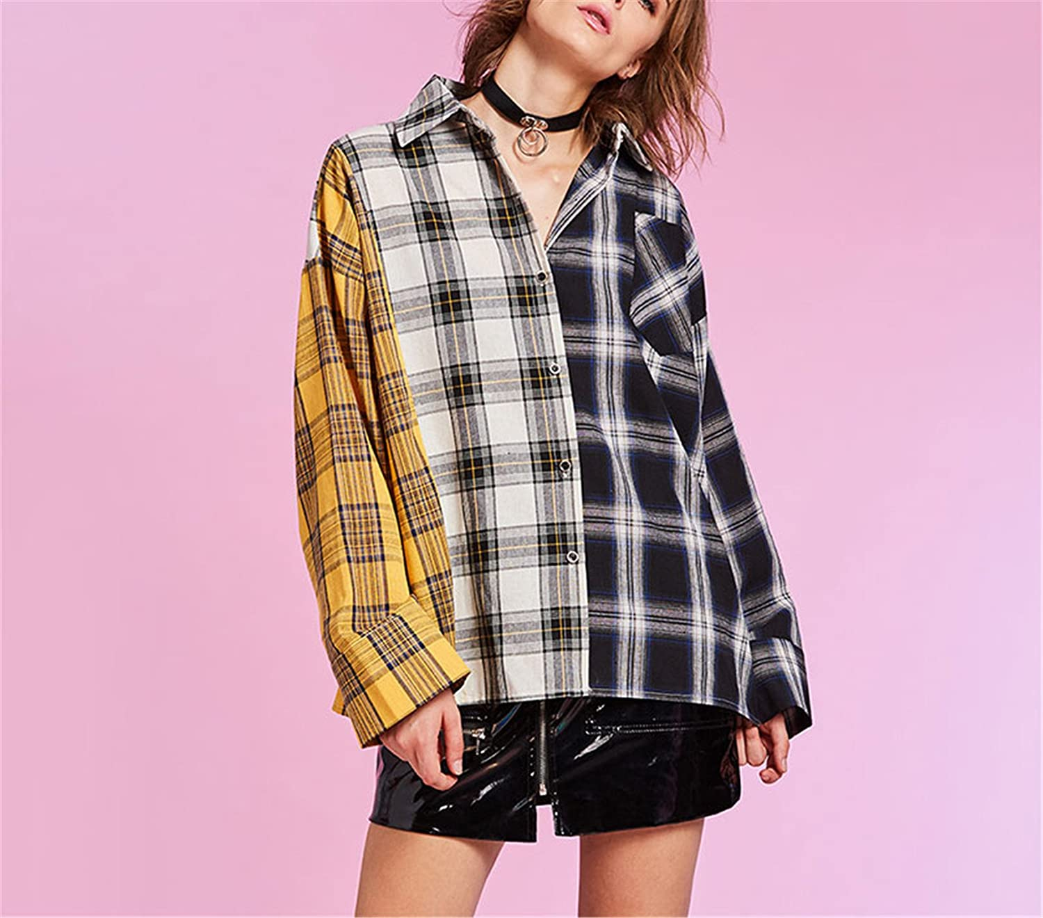 Chiffoned New Spring Shirt Women Plaid Shirt Cotton Long Sleeve Patchwork Blouse For Girls Top Street Wear Shirt Yellow One Size at Amazon Womens Clothing ...