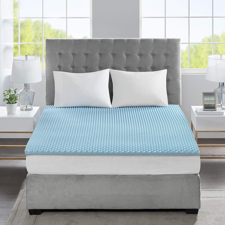 Flexapedic by Sleep Philosophy Gel Memory Foam Mattress Protector Cooling Bed Cover Queen Blue