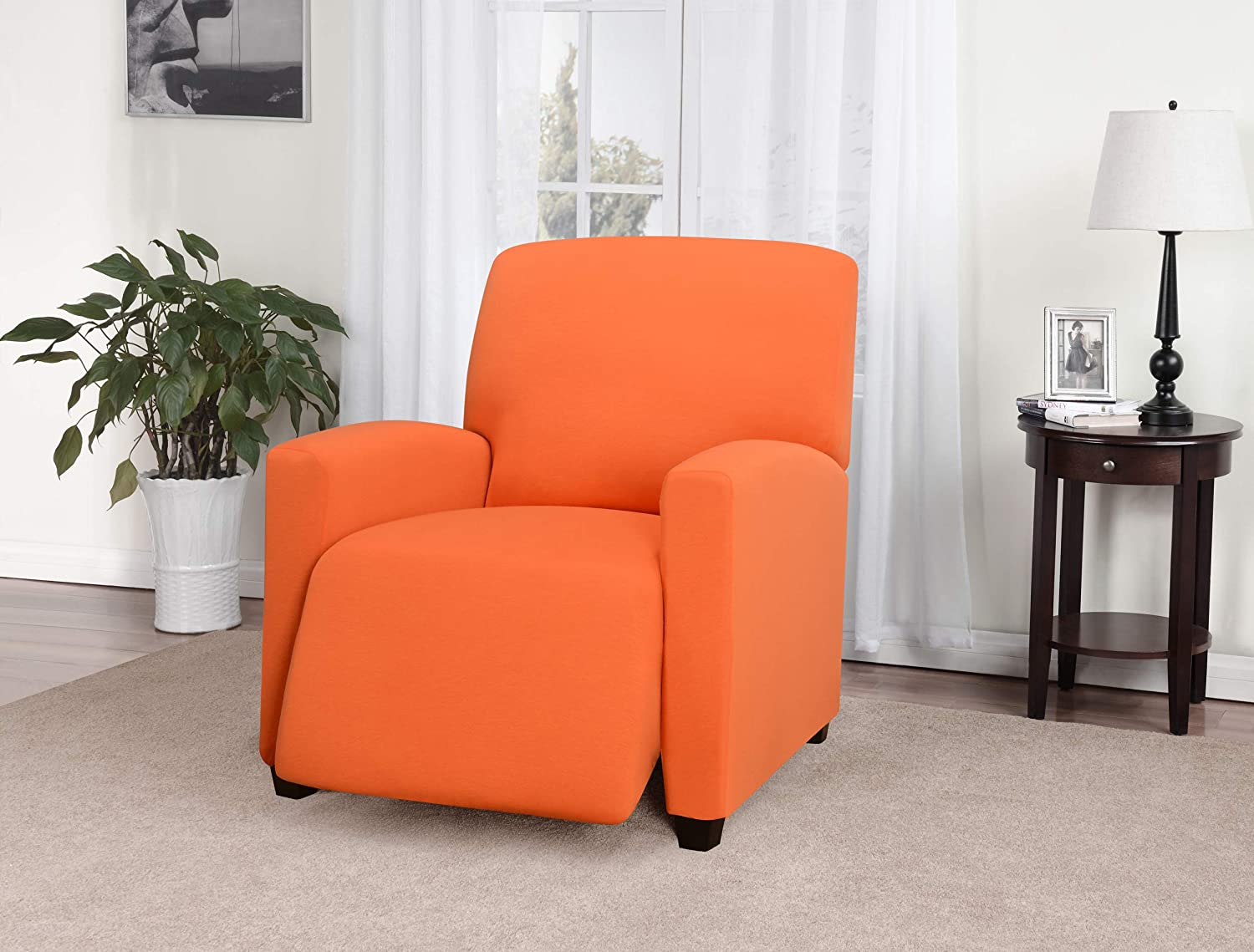 Madison Stretch Jersey Tangerine Large Recliner Slipcover, Solid