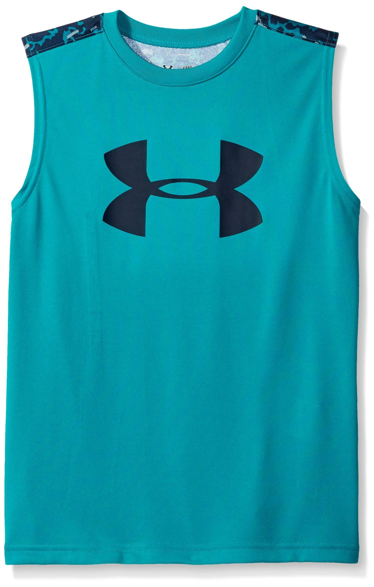 Under Armour Boys' Tech Big Logo Novelty Sleeveless T-Shirt, Tahitian Teal /Navy Seal, Youth Large